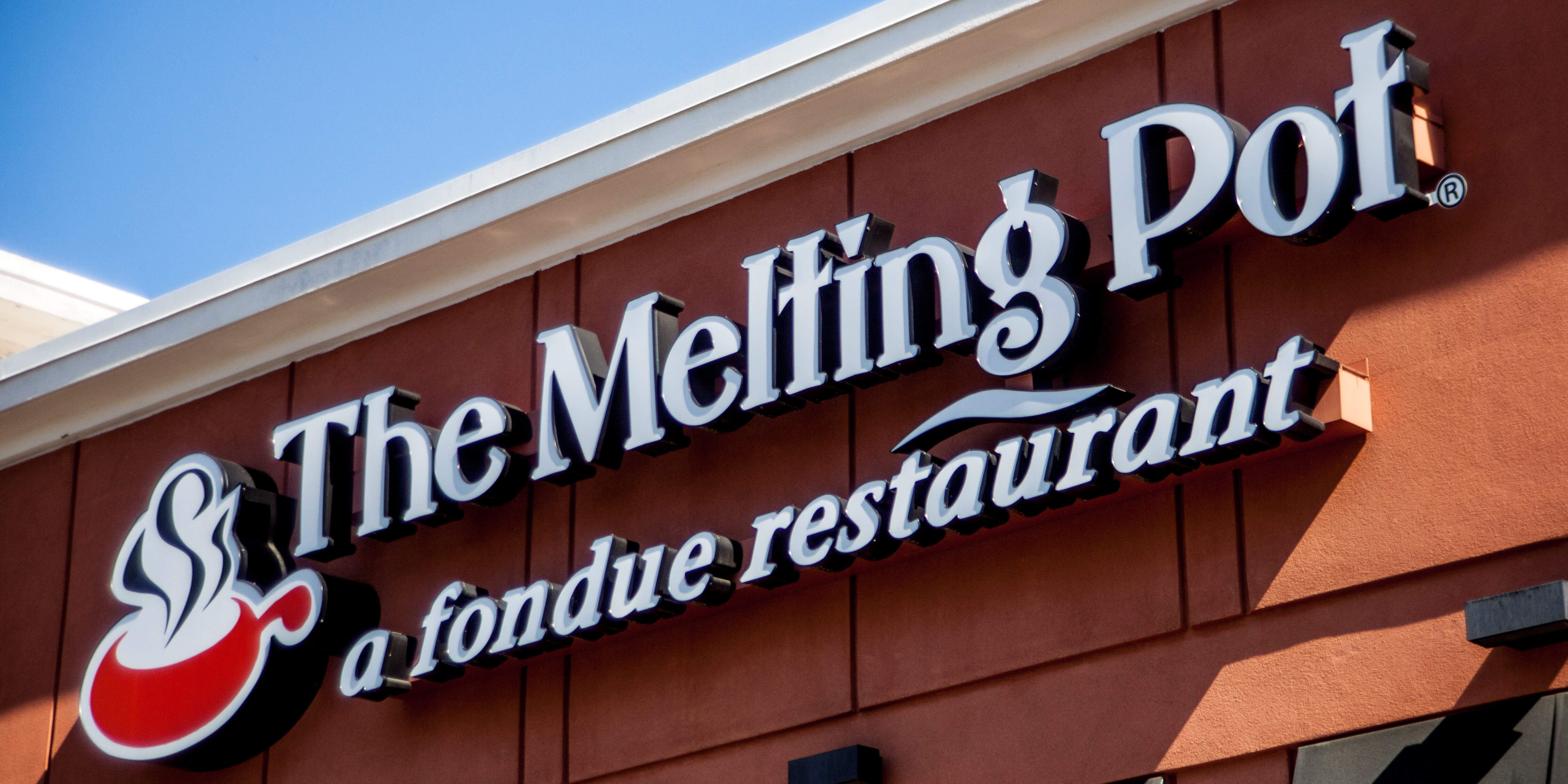 Sign at the front entrance of the Melting Pot in Raleigh, North Carolina